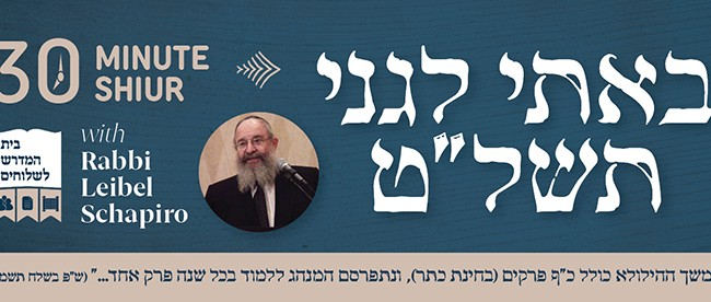 Shiur on Bosi Legani 5739 With Rabbi Leibel Schapiro