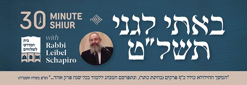 Shiur on Bosi Legani 5739 With Rabbi Leibel Schapiro